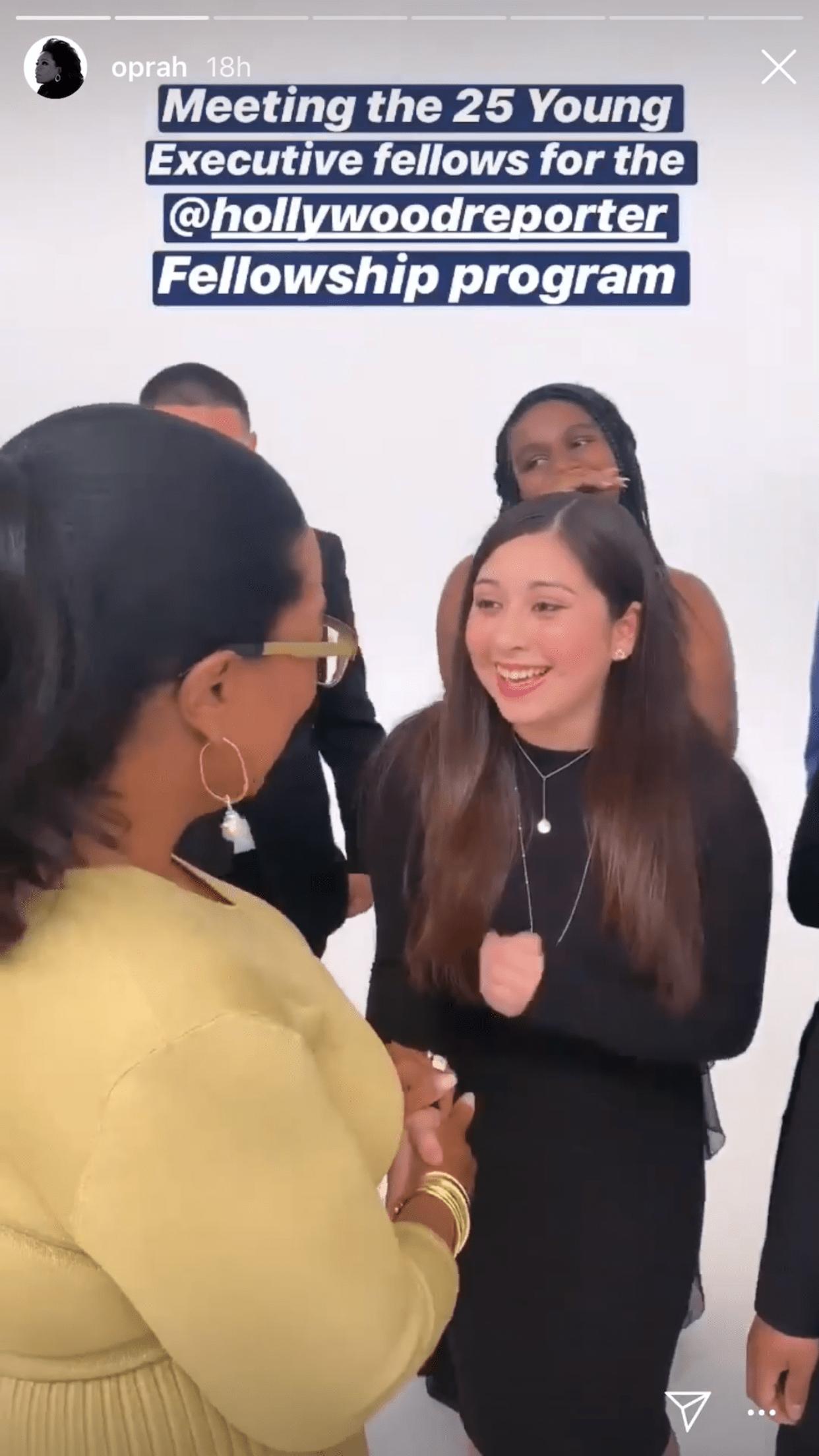 Sophomore, Ariana Morataya-Cardenas with Oprah Winfrey