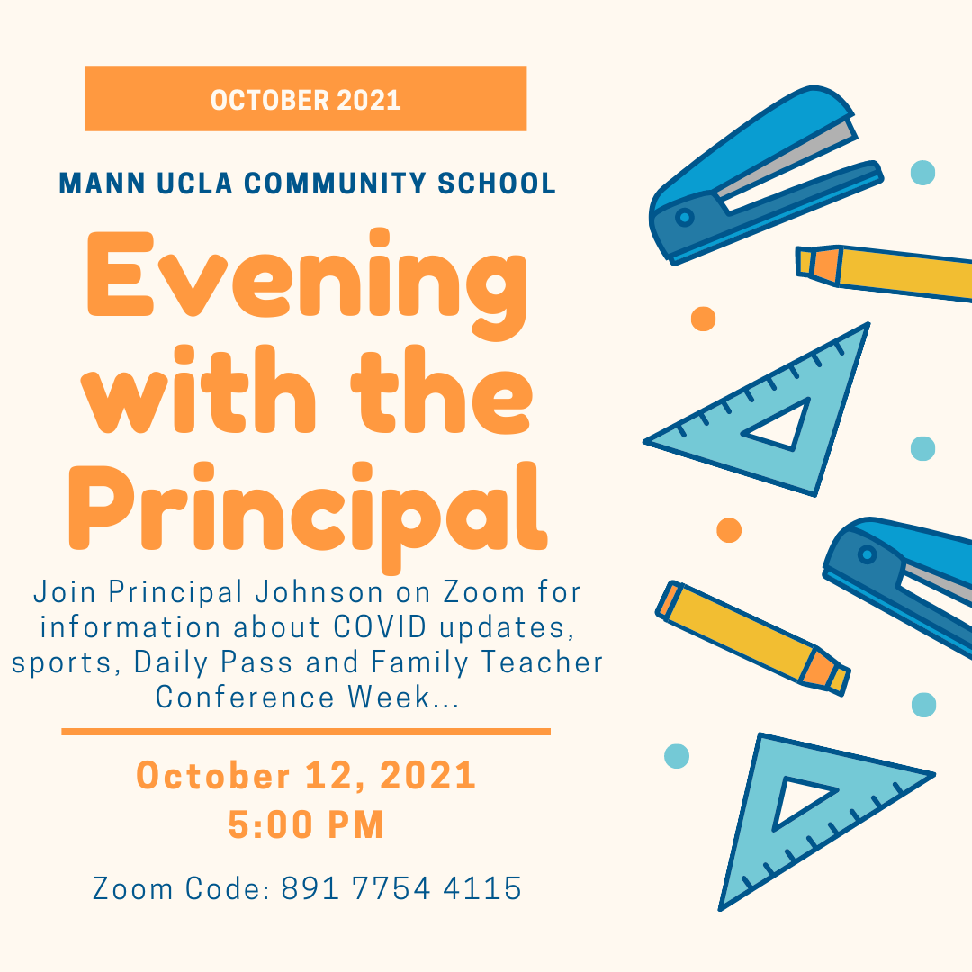 October Evening with the Principal – POSTPONED to 10/20/2021